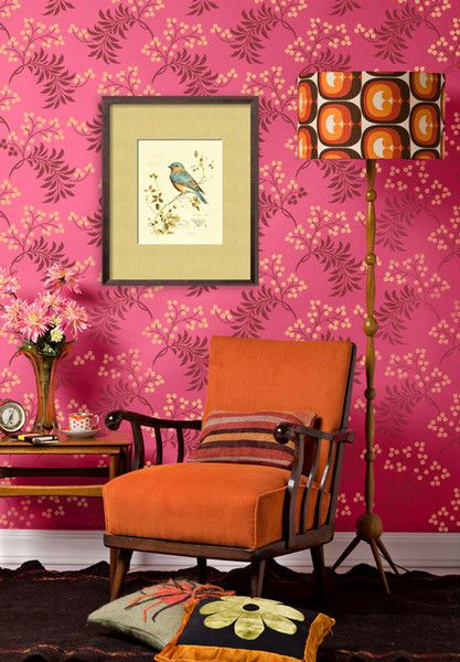This delicate allover pattern Flower Stencillooks Berry Romantic stenciled on walls in soft subtle tints or hip and exciting painted in brighter contrast color