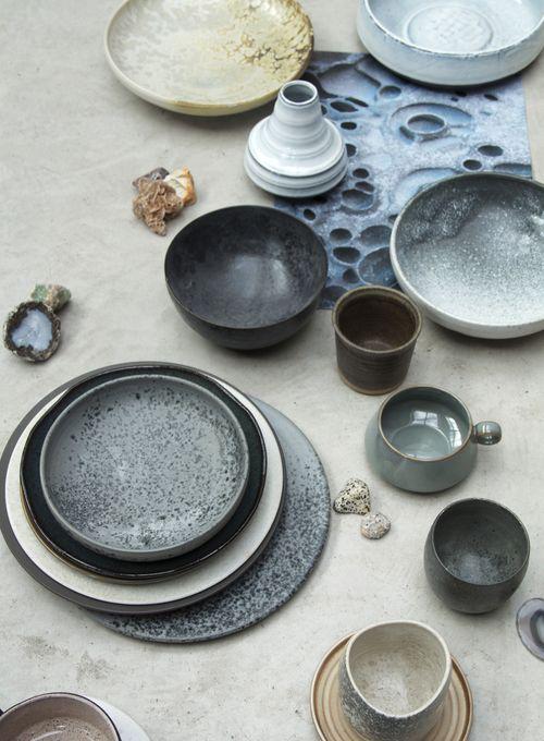 Textural ceramics,complimentary soft tones...