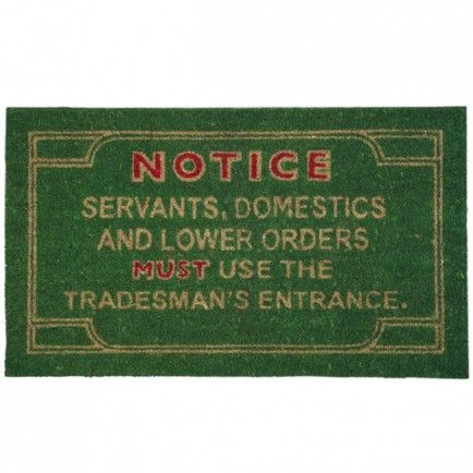 It makes me smile, but might not be the best guarantee of a good outcome when you need a visit from a proper tradesman! Doormat from Lark