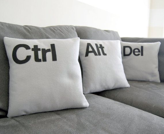 Pillows - we need these in our life! making them!Decor, Cushions, The Offices, Throw Pillows, Pillows Sets, Alt Del, Home Offices, Geek Chic, Ctrl Alt