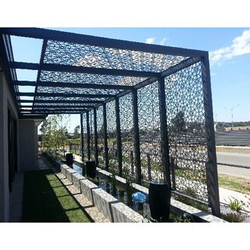 Decorative Aluminum Laser Cut Outdoor Privacy Screen Exterior Wall Panel Steel Pergola With Roof