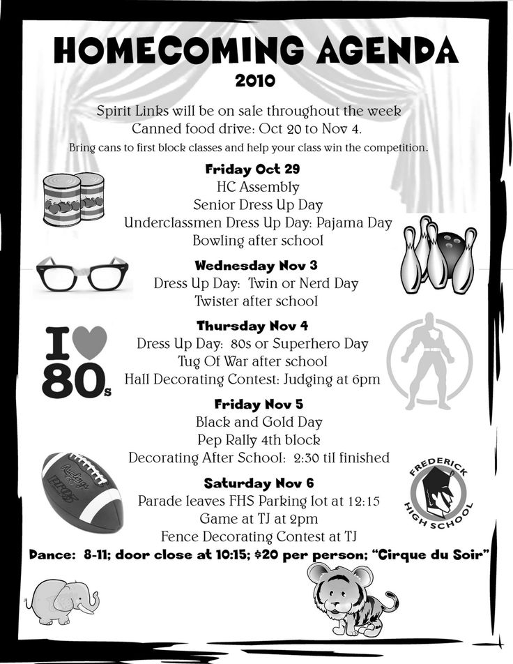 Homecoming Week Spirit Days