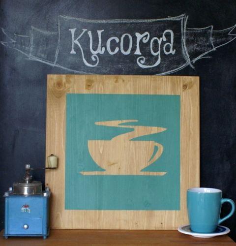 Kávézó TáblaKÉP konyhába, kucorga, meska.hu #kitchen #decoration #wood #picture #coffee