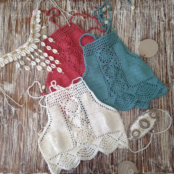Crochet halter top Bikini - Crochet swimsuit - Crochet Lace Swimwear Más