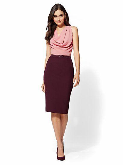 feec687eedec 7th Avenue - Draped Twofer Sheath Dress - New York & Company ...