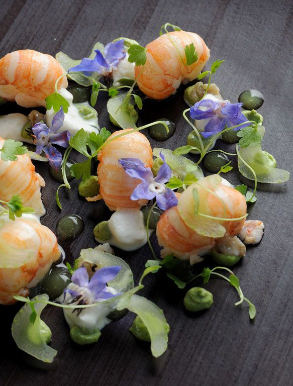 Roasted Scotch langoustines, oyster purée, celery, and horseradish.