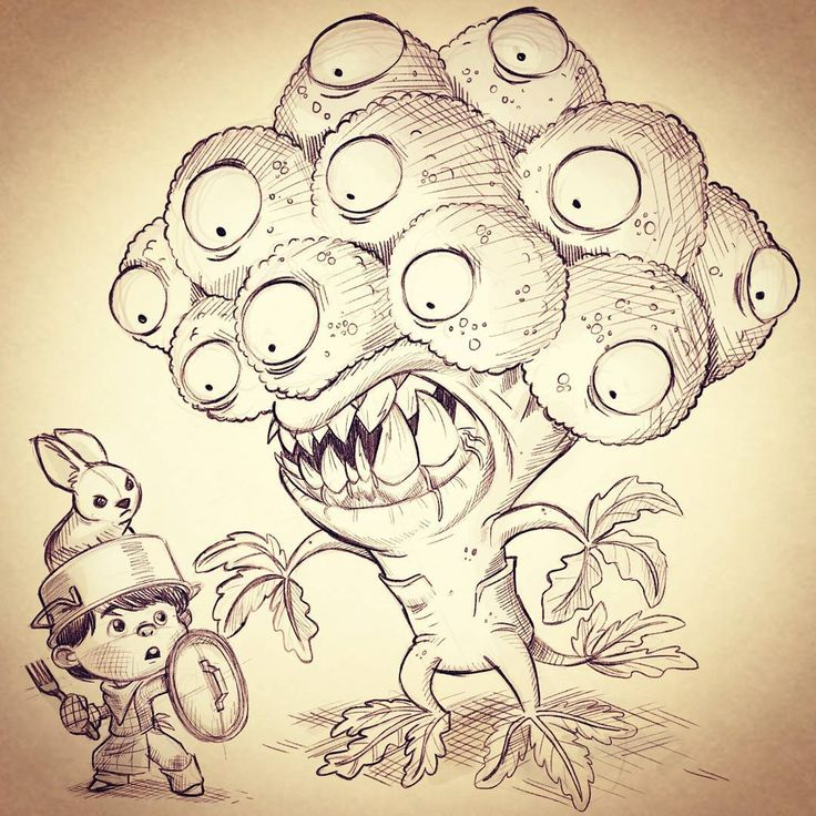 """""""Brocolli monster! Hmm what could be more cool monsters that want to eat children? Made this drawing because I got feedback on my homework.   ★ 