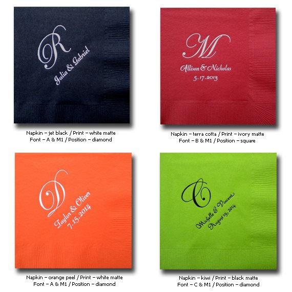 wedding napkins personalized cocktail napkins wedding cocktail napkins NEW Edwardian monograms Examples only. $1.00, via Etsy.