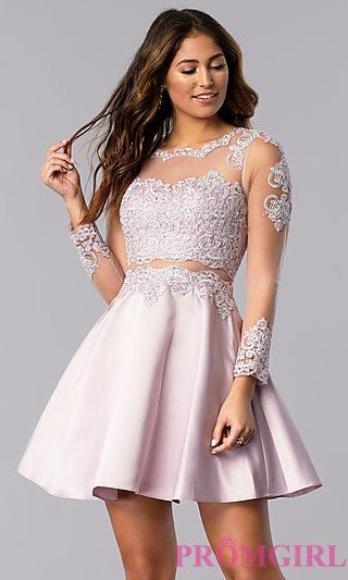 9751d0b8bee Bracelet-Sleeve Short Homecoming Dress -PromGirl