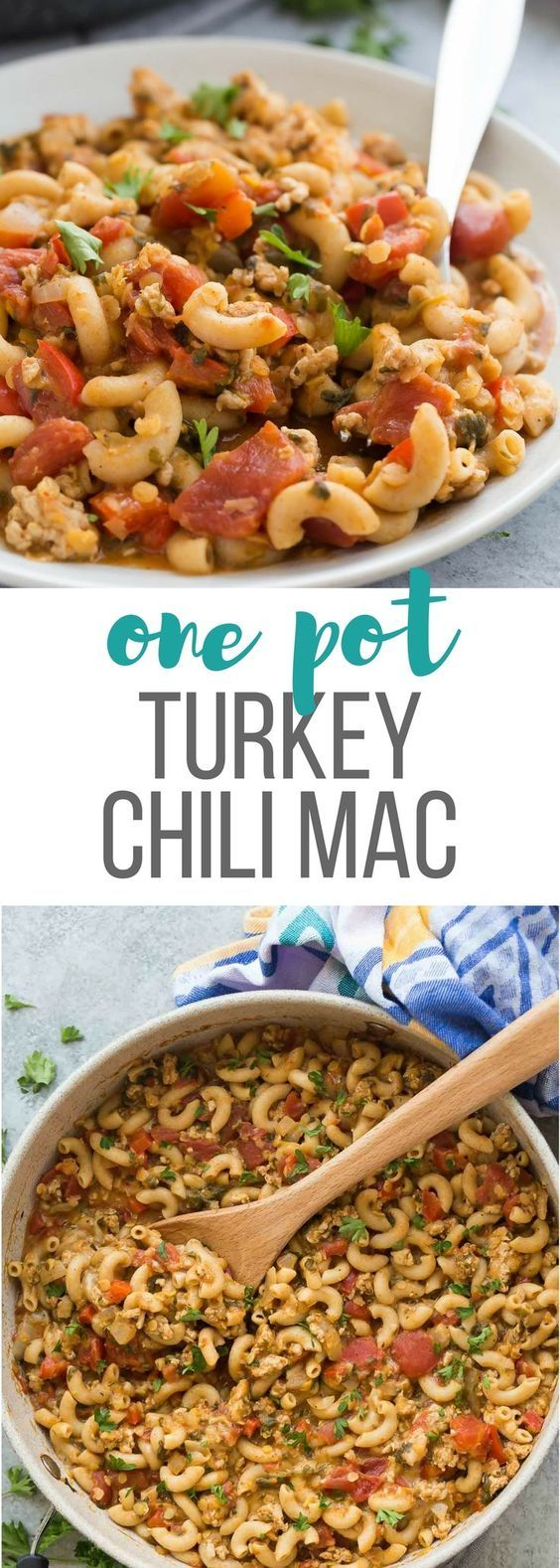 This One Pot Turkey Chili Mac is an easy, healthy weeknight dinner recipe that's made in just one pan! Loaded with vegetables and lentils for extra protein and fibre! Includes step by step recipe video. | one pot meal | one pan | healthy dinner | high protein | high fiber | ground turkey | pasta recipe | weeknight meal | 30 minutes #onepotpasta #onepotmeal #onepanmeal #healthy #diet