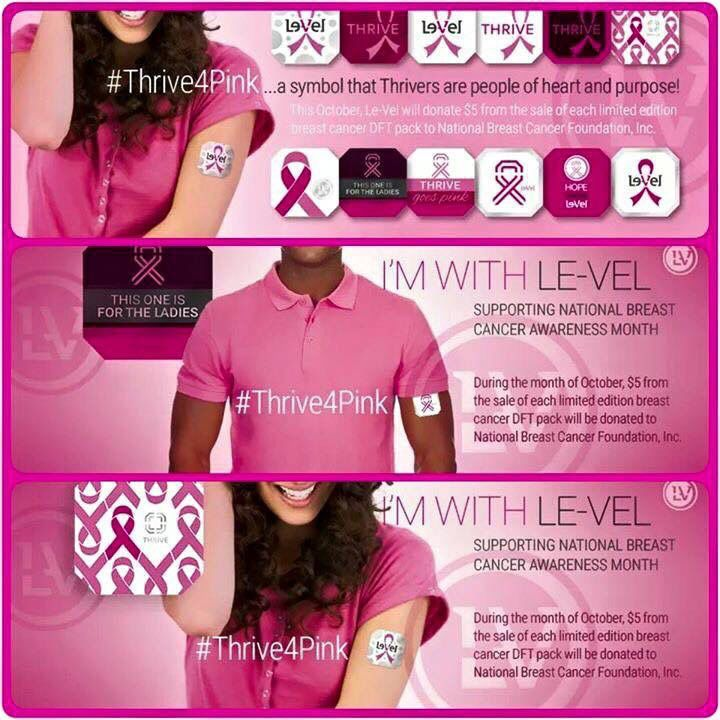 I am very proud of Le-Vel and their passion to help this amazing cause is beyond Beautiful ♡♡♡ In honor of Breast Cancer Awareness month ... for every Pink Thrive Dft sold ... they will be donating $5!!! The #ThriveExperience has been changing my life personally and I want others to Thrive so they can see how good you can physically feel and share with others as well!  lease help me in this, let me help you start your own Thrive Experience today!!!  Save the TATAS!!!   Love Le-Vel and our…