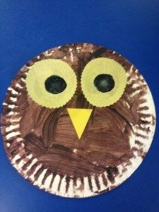 paper plate owl craft for the letter O