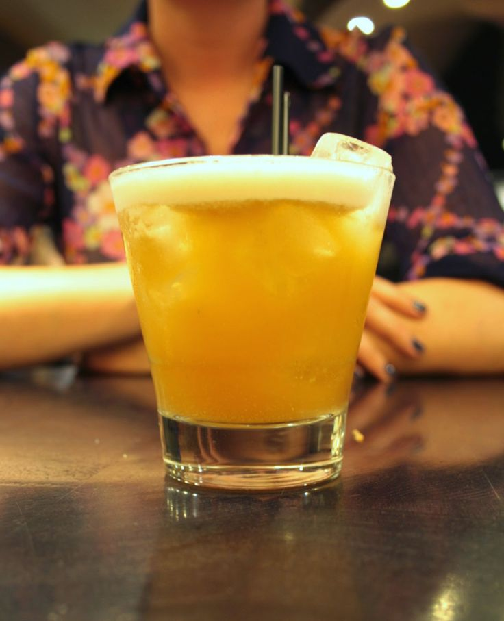 Sounds crazy but this amaretto and wasabe sour has the most amazing flavour - Ping Pong dim sum, Soho