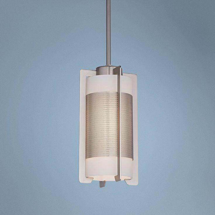 Iron Brushed Steel Bracket Mini Pendant Light - #U2576 | Lamps Plus