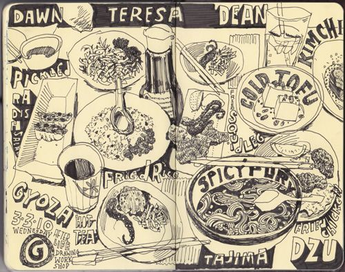 Graham Smith Illustration Blog: Restaurant Sketchbook --- Try taking up the whole page like this.