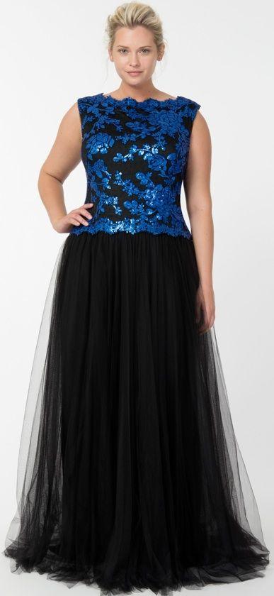 Tadashi Shoji black and sapphire gown.