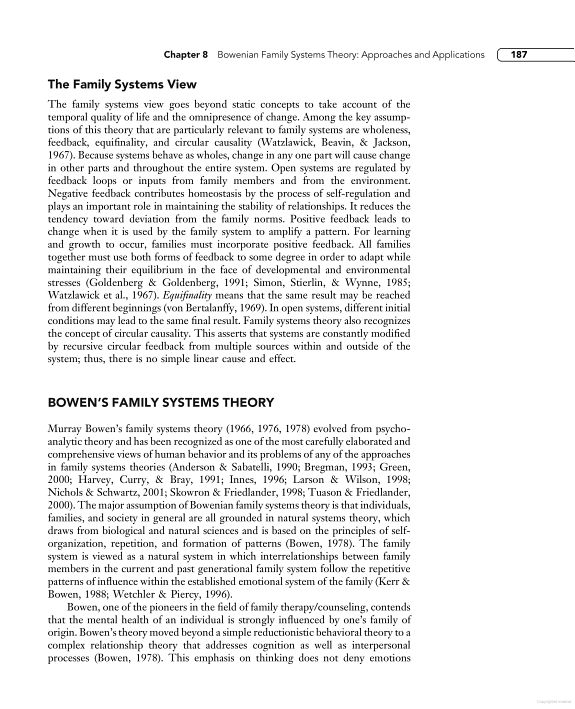 dr murray bowen s family systems theory The princeton family center for education, inc dr murray bowen's theory is a body of knowledge about human emotional some bowen family systems thoughts.
