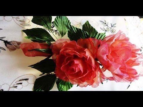 Нежная роза из шелка - YouTube