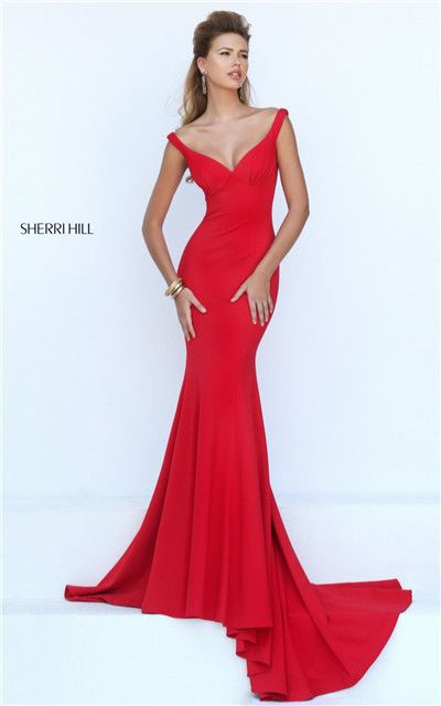 2016 Plunging Neck V-Back Red Slim Mermaid Gown Sherri Hill 50441 Online