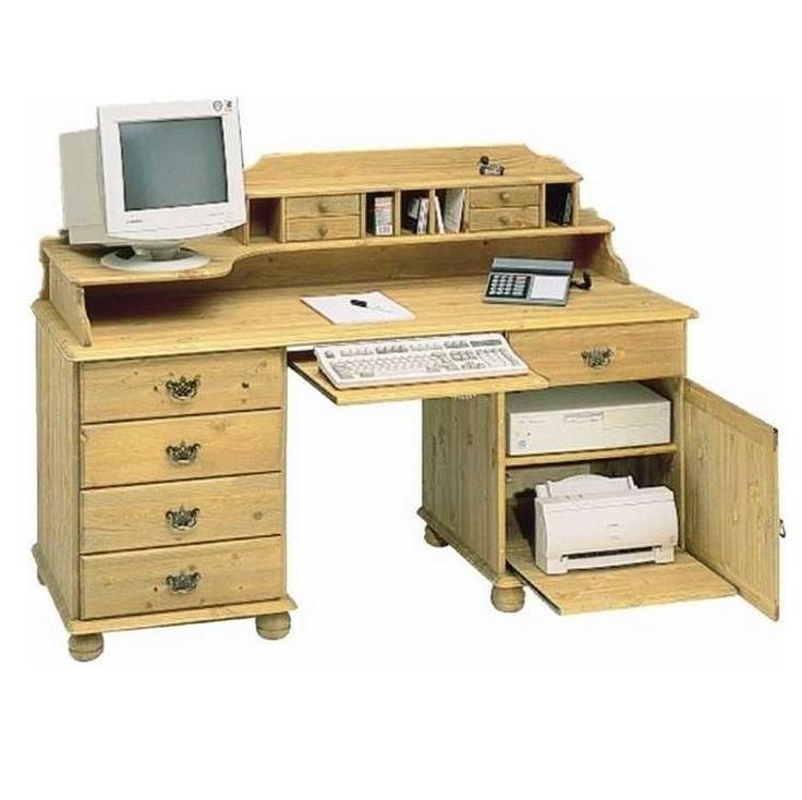 carl schreibtisch mit aufsatz aus kiefer massiv holzfarben gelaugt ge lt kieferm bel. Black Bedroom Furniture Sets. Home Design Ideas