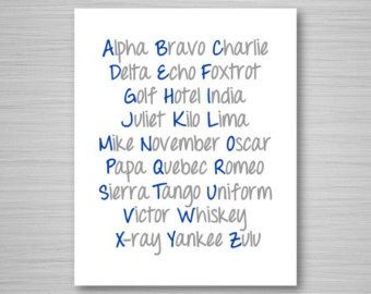 This is an original 8x10 digital download printable art piece of the NATO Phonetic Alphabet laid out in the shape of a jet airplane, in navy blue.  This phonetic alphabet airplane art is perfect for any aviation enthusiast, student pilot, or seasoned aviator. Its both informative and decorative!  As with all my items here at CAVU too, this phonetic alphabet airplane design is completely unique and original, dreamed up and designed entirely by me. You wont find this art anywhere else! If youd…