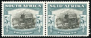 Union of South Africa  1949 Scott 65 (SG 122) 5/- blue green & black, Die I Fully Screened