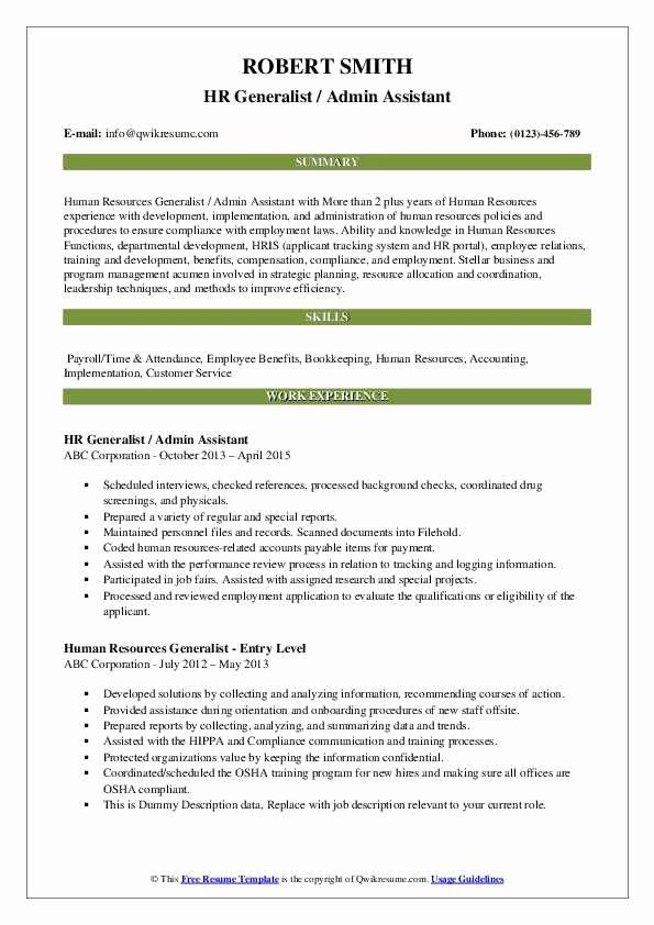 Human Resources Generalist Resume Beautiful Human Resources Generalist Resume Samples In 2020 Medical Assistant Resume Job Resume Samples Human Resources Resume