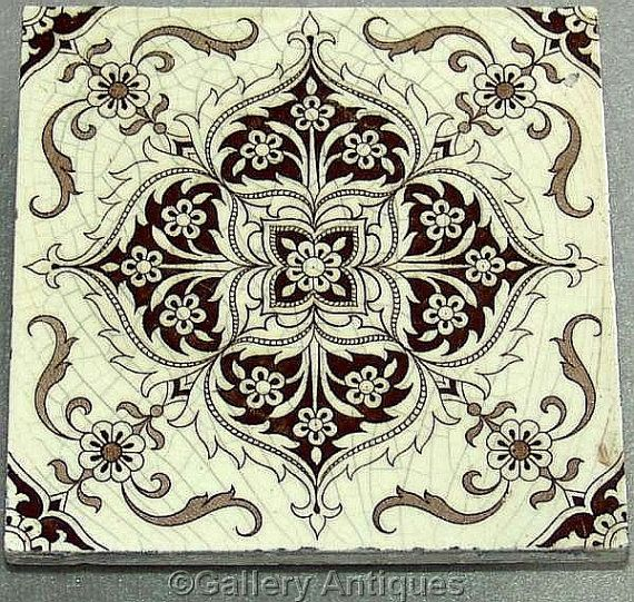 antique Victorian Minton China Works Floral Aesthetic gothic Brown and White Transfer Printed Iznik Style Tile c.1872 (ref: D614)
