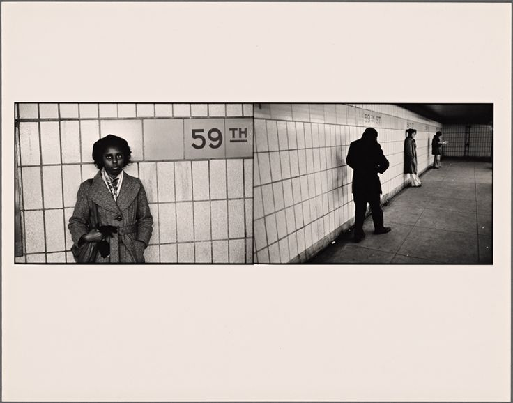 Black Girl Staring: Three Figures Waiting, 59th St From New York Public Library Digital Collections.