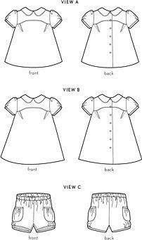 puppet show tunic, dress + shorts sewing pattern