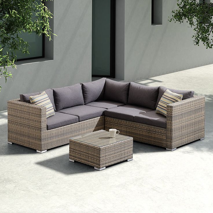 Armen Living Nina 3 piece Outdoor Rattan Sectional Set with Dark Cushions and Modern Accent Pillows