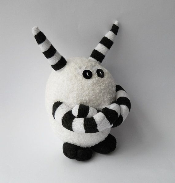sock monster doll with attitude plush monster sock creature stuffed animal white black soft sculpture called Humph