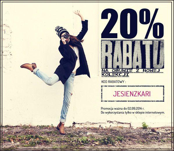 Banner umieszczony w newsletterze sklepu internetowego Kari informujący o specjalnym rabacie dla subskrybentów. #banner #buty #kari #promocja