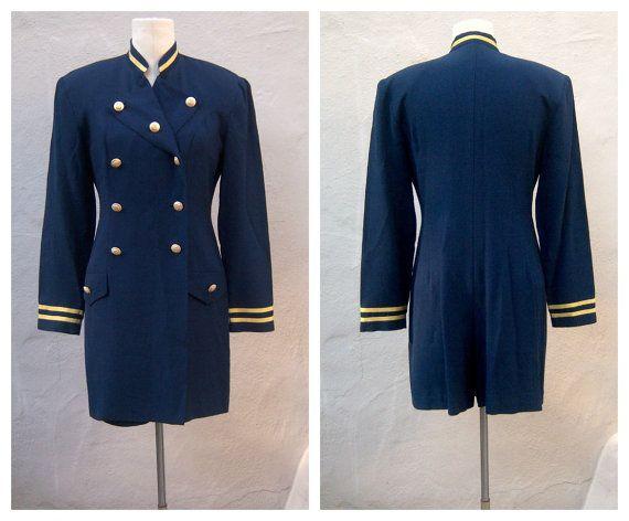 SOLD 80s nautical jumpsuit / navy blue sailor suit GOLD lame trim / Joseph Ribkoff, womens sm-med  #jumpsuit #jumper #stewardess