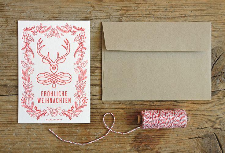 Bayerische Weihnachstgrüße mit Hirsch als Letterpress-Karte // Weihnachtskarte // Weihnachten // Bayern Illustration + Design: Valerie Wolf