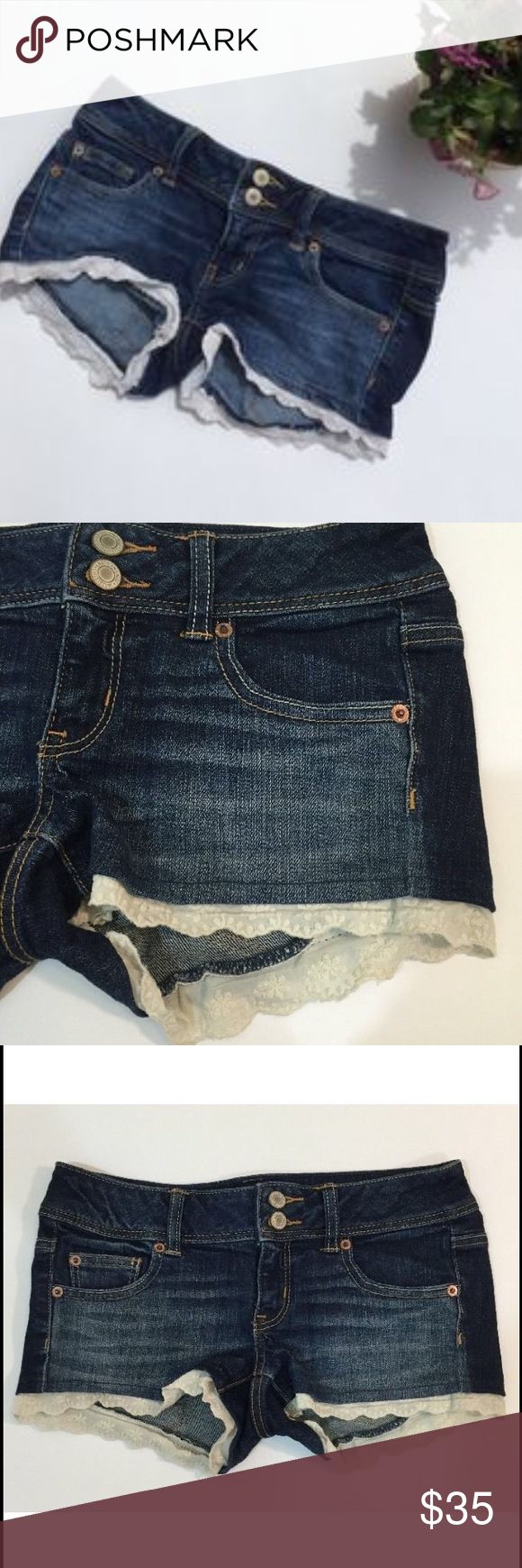 American eagle lace Jean shorts American eagle (AE) dark wash Jean shorts. Off white lace detail at the bottom. Great condition. Only worn a couple times. Size 4 🔸🔸🔸🔸🔸🔸🔸🔸🔸🔸🔸🔸🔸🔸🔸❌NO TRADES ❌NO LOWBALL COMMENTS  ✅USE OFFER BUTTON  ✅ASK QUESTIONS  ✅ASK TO MODEL ❤️❤️❤️❤️❤️❤️❤️❤️❤️❤️❤️❤️❤️❤️ ❗️ALL PURCHASES WILL BE GOING TOWARDS MY TRIP TO VISIT MY BOYFRIEND OF 3 YEARS! He recently moved 19 hours away to become a cop! THANK YOU EVERYONE!❗️ American Eagle Outfitters Shorts Jean…