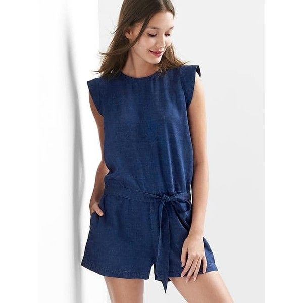 Gap Women TENCEL™ Denim Cap Sleeve Romper ($45) ❤ liked on Polyvore featuring jumpsuits, rompers, dark indigo, tall, playsuit romper, tall romper, blue romper, denim romper and tie-dye rompers