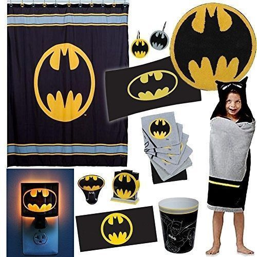 Batman 27 Piece Complete Shower Curtain And Bathroom Accessories Set With  Bat #DCComics