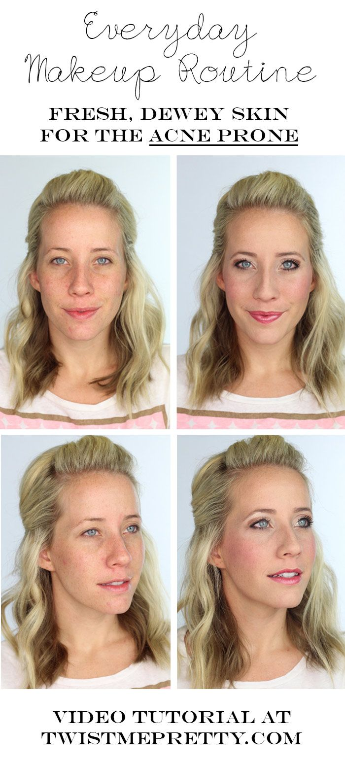Everyday Makeup Routine -- perfect for someone who is prone to acne and uneven skin tone.    Twist Me Pretty