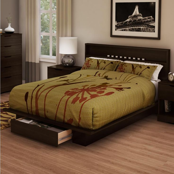 Holland Chocolate (Brown) Full or Queen Platform Bed Frame