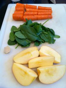 Here's a close up of all the ingredients I used for this spinach carrot apple ginger juice.