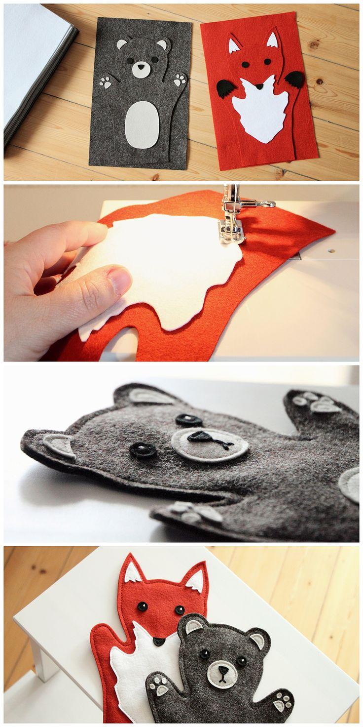 DIY Handpuppen aus Filz - DIY Woodland Handpuppets