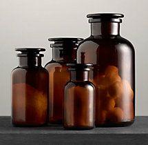 Amber Glass Pharmacy Bottles Restoration Hardware