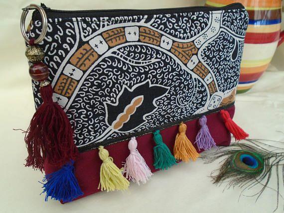 Handmade Cosmetic Makeup Bag Washbag, Boho Hippy Festival Tassels, Black and white  dot Cotton Lining Maroon Canvas Fabric Purse Gift