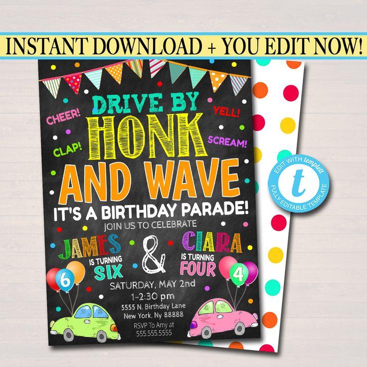 Drive By Birthday Parade Invitation Virtual Dual Birthday