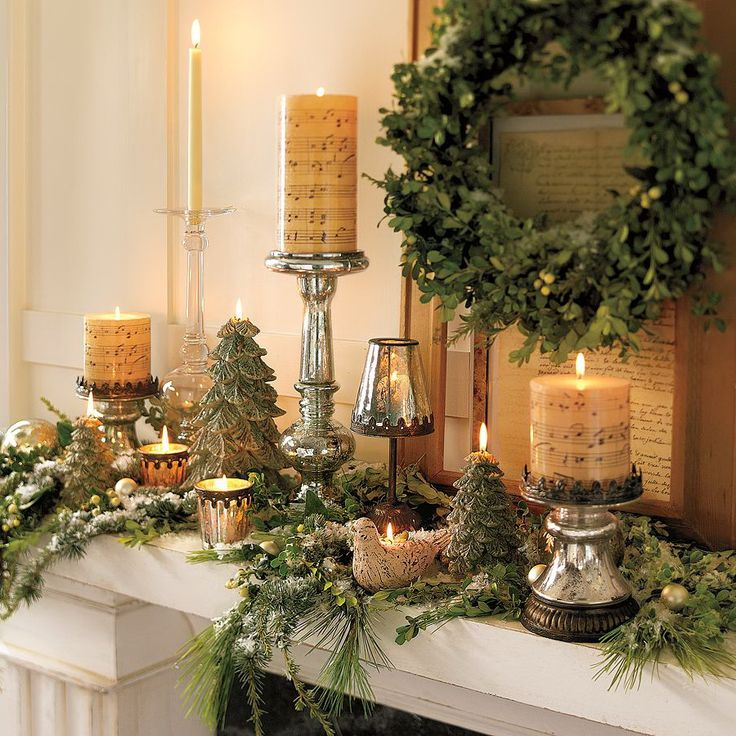 Trendy Fireplace And Mantel Decorated With Pottery Barn Christmas Wreath And Candle Lights