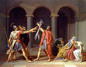 """The Oath of the Horatii - Jacques-Louis David.  c.1784.  Oil on canvas.  10' 10"""" X 13' 11"""".  Musee du Louvre, Paris."""
