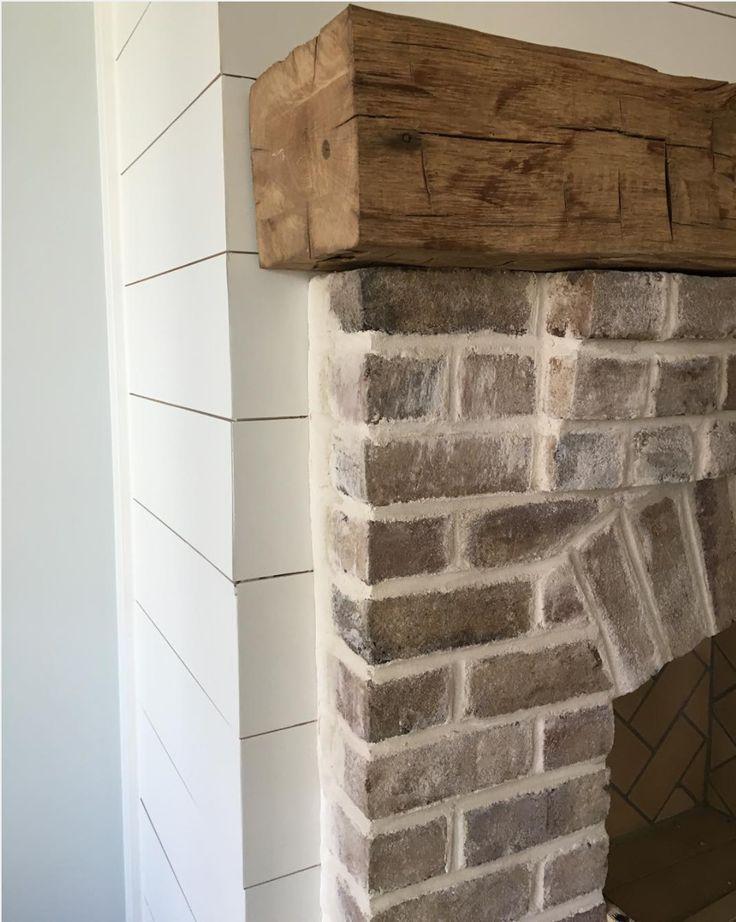 Whitewashed Fireplace Rustic Log Mantel Shiplap Around Home Fireplace Brick Fireplace Farmhouse Fireplace
