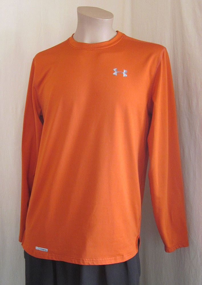 405d2683 UNDER ARMOUR Men's Coldgear Fitted Orange Long Sleeve Crewneck T-Shirt L  Large #Underarmour #ShirtsTops