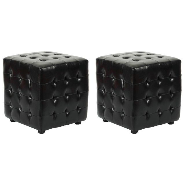 safavieh kristof storage black ottomans set of 2 size medium leather